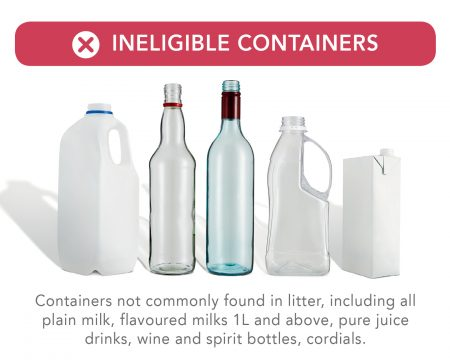 Ineligible containers for recycling in Toowoomba
